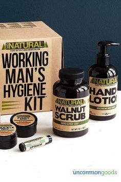 Allow UncommonGoods to introduce you to the new man's best friend. Designed by a mechanic and his dirty, damaged paws, the Working Man's Hygiene Kit will work wonders on anything you need to wash. This all-natural set from UncommonGoods is great for soothing sore feet, healing cracked lips and knuckles and buffing out dry skin. It goes beyond cleansers to get the job done. Check it out at UncommonGoods today.