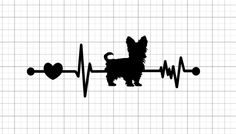 Yorkie Ekg Vinyl Decal Paw Print Heartbeat Car Window Decal Mirror Decal Laptop Decal by MichellesVarietyShop on Etsy