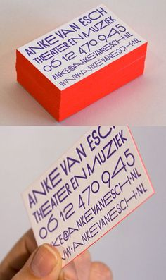 Neon Red Edge Painted Letterpress Business Card Design With Custom Typography