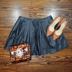 BLACK FAUX LEATHER SKATER SKIRT BRAND NEW NEVER WORN  NO TRADE  ‼️PRICE FIRM‼️ CHEAPER ON ♏️ ASOS Skirts Circle & Skater