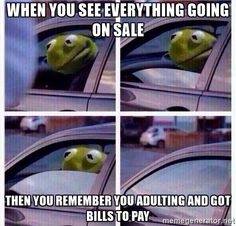 Rolling up the window Kermit - When you see everything going on sale then you remember you adulting and got bills to pay