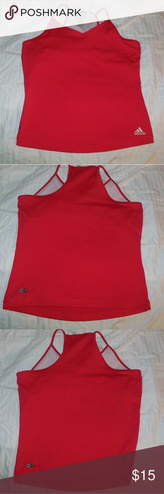 Adidas Clima365 Spagetti Strap Tank Top Size M Up for your consideration here is a gently used spaghetti strap style tank top made by Adidas in a size medium. I am unsure what style and name of this shirt this is but I believe it's the race track top. If you know which one it is please let me know :-) there is a small flaw in the front, there is a snag that isn't running yet. Please refer to the last photograph if you can see it. It also has a built-in bra. Make sure to browse my closet…