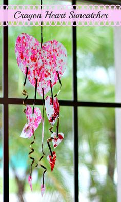 The crayon heart suncatcher is a great Valentine's Day craft for kids to do on a rainy day