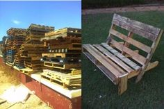 pallett art. saw this bench on pinterest got some free palletts and blaine built it! this is so easy, and you could easily add coushins ot paint it!