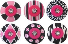 Handpainted Jeweled Hot Pink & Black Drawer Knobs Pulls 6