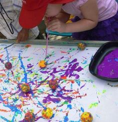 Ping pong and straw painting