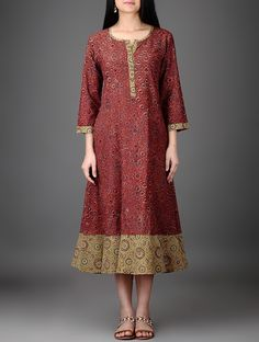 Buy Maroon Olive Black Natural Dyed Ajrakh Printed Cotton Dress Women Dresses on my Mind kurtas and Printed Kurti Designs, Kurta Designs, Blouse Designs, Women's Dresses, Indian Dresses, Fashion Dresses, Simple Dresses, Casual Dresses, Cotton Dresses Online