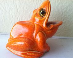 Orange  kitchen    ceramic decor | Vintage Mid Century Modern Orange Ceramic Kitchen Scrubbie Frog Sponge ...