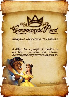 Convite Pergaminho Bela e a Fera Le Pilates, Snow White Birthday, Maria Clara, Sofia Party, Ideas Para Fiestas, Princess Party, Holidays And Events, Beauty And The Beast, Party Themes