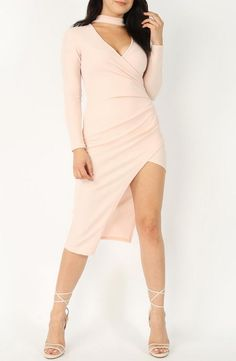 Choker Wrap Midi Dress salmon