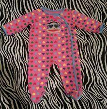 ~ Small Paul Frank Baby Girls Pink Hearts Monkey Sleeper Size 9 M ~EUC
