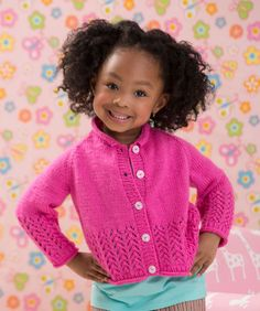 Knit this sweet-as-candy cardigan for the little girl in your life! The lacy eyelet pattern along the edge and cuffs is easier than it looks.