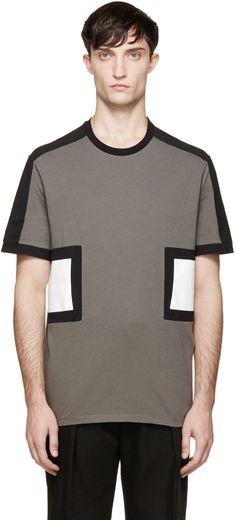 Neil Barrett Grey Modernist T-Shirt