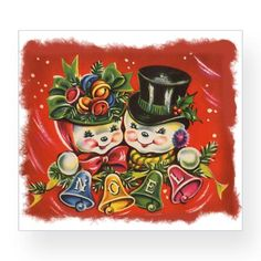Vintage Christmas snowmen couple wine label