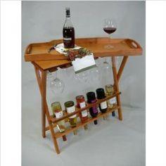 Portable Wood Wine Rack System Honey Oak - Rosi