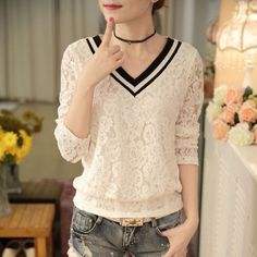 2017 Blusas femininas Casual Women Hollow Out Blouses Long Sleeve Tops Autumn Stand Lace Print Shirts 71768 White Lace, Casual Shirts, V Neck, Clothes For Women, Long Sleeve, Womens Fashion, Sexy, Color, T Shirt