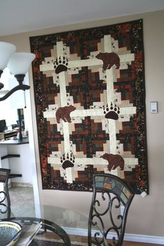 Incredible photo - go to our articles for additional tips! Quilting Projects, Quilting Designs, Quilting Ideas, Sewing Projects, Wildlife Quilts, Bear Paw Quilt, History Of Quilting, Log Cabin Quilts, Log Cabins