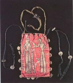 This purse was in made in France, ca.1170–1190. It's embroidered with silk threads on red linen fabric. This would have been luxurious item and would have made quite the statement hanging from someone's belt. Currently in the collection of the Musée Alfred-Bonno in Chelles