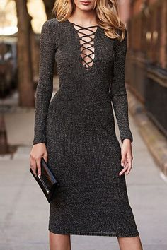 Solid Color Lace-Up Plunging Neck Sweater Dress #ZAFUL #FASHION #NEW #DRESS #LACEUP