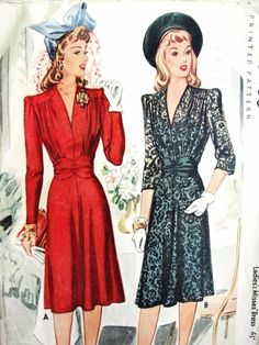 1940s BEAUTIFUL Dress Pattern McCALL 4337 Film Noir Day or Evening Cocktail Party Dress WW II War Time Era Bust 32 Vintage Sewing Pattern