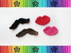 Crochet-Mustache and Lips Applique $3.95