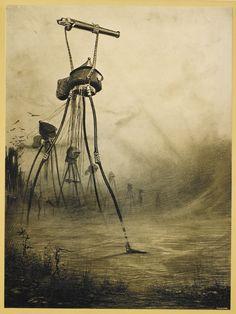 """H G Wells """"La guerre des mondes""""   edition illustreé par Henrique Alvim Corrêa (1876–1910)   Published:  1906 , Brussels"""