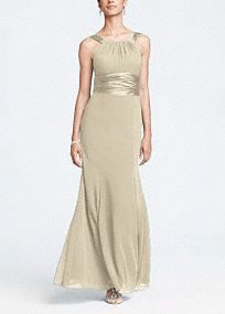 This long chiffon and charmeuse combination dress is a flattering look for all body types.   The high neck is a sophisticated look that pairs nicely with the length of the dress.  Dress this up with bold jewelry.  Fully lined. Back zip. Imported polyester. Dry clean only.  Get inspired by our colors.  Prices vary by color. Please select color and size to see price.  Sizes and colors are available in limited stores and with limited availability.   To protect your dress, try our ...