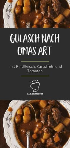 Gulasch nach Omas Art So a classic goulash must taste like Grandma's recipe! The goulash is made with beef, potatoes and tomatoes and tastes sooo delicious – you feel instantly transported to your childhood. Goulash, Slow Cooker Recipes, Beef Recipes, Vegan Recipes, Cooking Recipes, Avocado Dessert, Deli Sandwiches, Avocado Toast, Braised Beef