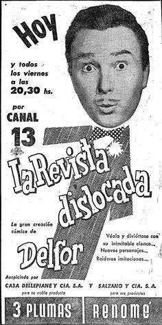 Aviso del programa LA REVISTA DISLOCADA, Canal 13, Buenos Aires. Década del 60.