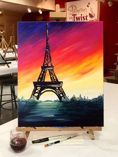 It's always #WineWednesday in Paris.    Find this event: https://www.paintingwithatwist.com/paintings/a-paris-sunset-4169/