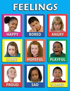 Mini Feelings Poster Set of 12 SKU: Set of 12 high quality mini feelings posters The bright colors and expressive photographs make this set especially useful with young children A great value Feelings Preschool, Teaching Emotions, Preschool Themes, Preschool Classroom, Preschool Prep, Classroom Ideas, Feelings Chart, Feelings Words, Feelings And Emotions