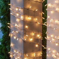 """6"""""""" x 15' White Frost Christmas Column Wrap Lights, 150 Lamps on White Wire"""