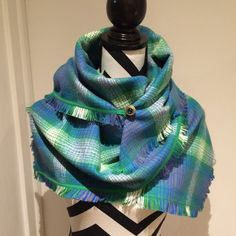 Green/Blue Oversized Plaid Blanket Infinity by SissyandTodo