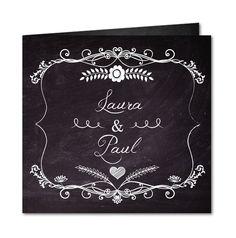Einladungskarte Hochzeit Retroschiefertafel (R-5018)