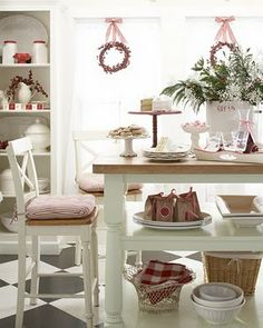 red and white kitchen christmas.  I love the color red in a kitchen.  Maybe that's why the kitchen is my favorite room during the holidays.