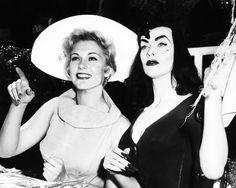 Kim Novak and Vampira c. 1950's    Naughty and Nice in the photo