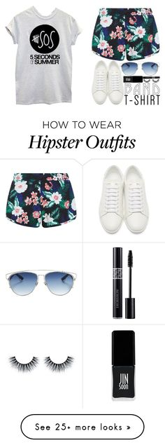 """""""Untitled #337"""" by l-have-secrets on Polyvore featuring Yves Saint Laurent, New Look, Christian Dior, JINsoon, bandtshirt and bandtee"""