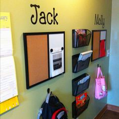 I like this idea!  Think it would work in a kitchen or great room area as well. Back hallway organization for the kids school work and activities.