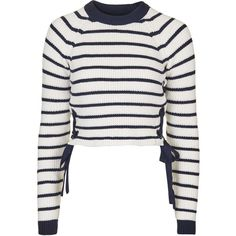 TOPSHOP Stripe Eyelet Tie Side Jumper ($75) ❤ liked on Polyvore featuring tops, sweaters, navy blue, navy blue crop top, stripe sweater, white eyelet top, leather jumper and crop top