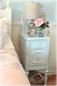 "We love this repurposing project from HGTV fan, Lisa, who writes "" A neighbor gave me an antique vanity that was broken to pieces. I decided to create two Cottage style nightstands out of it."""