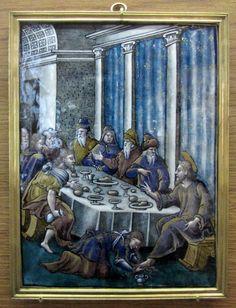 Atelier de Pierre Reymond, le Repas chez Simon (château d'Ecouen): Scènes de la vie du Christ, 3° quart du XVI°s, émail peint polychrome. Fonds Du Sommerard, 1843, E.CL.897 a-p.