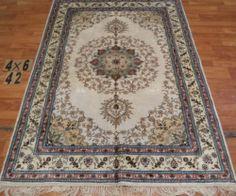 4'x6' Handmade Hand-knotted 200 kpsi Silk Oriental Persian Tabriz Rug 317