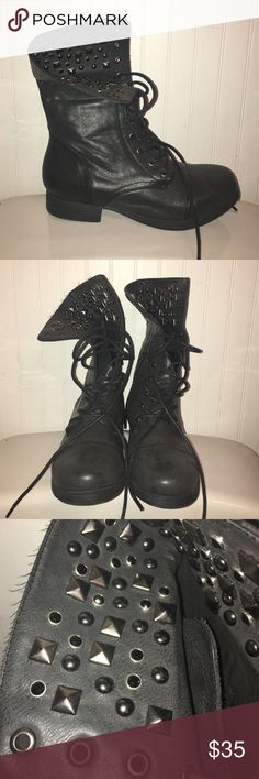BRAND NEW Black Studded Combat Boots Never been worn. Can be laced up as regular combat boots or can be folded down to show the silver studs. Small zipper on the in-side of each shoe for style and security on your feet. Francesca's Collections Shoes Combat & Moto Boots