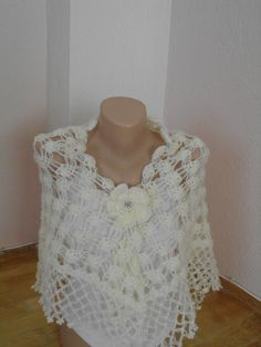 White silvery mohair  shawl/Crochet  white by redrosewholesaler, $59.90