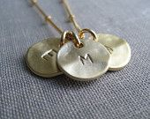 Three initial necklace, personalized necklace gifts, gold disc, satellite chain