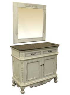 Antique white styling station.  Solid oak, built in appliance holders, dual drawers, auto closing hinges, under cabinet storage with shelf, matching mirror and granite top