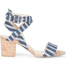 Sole Society Zahara Mid Heeled Sandal ($70) ❤ liked on Polyvore featuring shoes, sandals, heels, denim stripe, ankle wrap shoes, ankle strap heel sandals, ankle tie sandals, wrap around sandals and stripe shoes