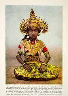 1938 Color Print Portrait Bali Dancer Girl Costume Ethnic Indonesia ॐ Bali Floating Leaf Eco-Retreat ॐ http://balifloatingleaf.com ॐ