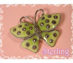 Sterling Silver ~ Marcasite ~ 1980's Green Enamel Sweet Butterfly Brooch - Vintage Jewelry
