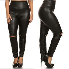 Leggings Plus Faux Leather Black Slashed Slit Knee High Waist 1X 2X 3X Sexy